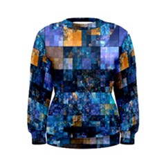 Blue Squares Abstract Background Of Blue And Purple Squares Women s Sweatshirt