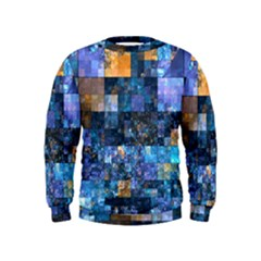 Blue Squares Abstract Background Of Blue And Purple Squares Kids  Sweatshirt