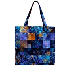 Blue Squares Abstract Background Of Blue And Purple Squares Zipper Grocery Tote Bag