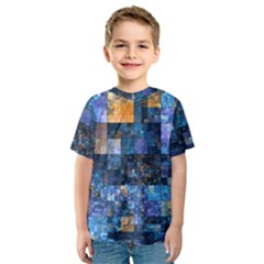 Blue Squares Abstract Background Of Blue And Purple Squares Kids  Sport Mesh Tee