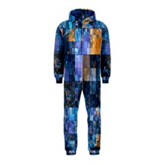 Blue Squares Abstract Background Of Blue And Purple Squares Hooded Jumpsuit (Kids)