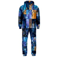 Blue Squares Abstract Background Of Blue And Purple Squares Hooded Jumpsuit (men)