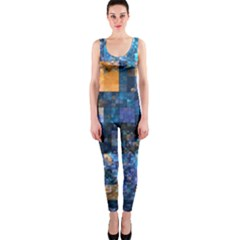 Blue Squares Abstract Background Of Blue And Purple Squares OnePiece Catsuit