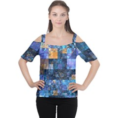 Blue Squares Abstract Background Of Blue And Purple Squares Women s Cutout Shoulder Tee