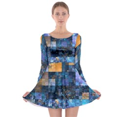 Blue Squares Abstract Background Of Blue And Purple Squares Long Sleeve Skater Dress