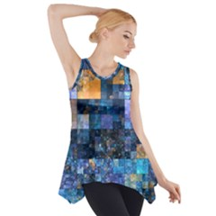 Blue Squares Abstract Background Of Blue And Purple Squares Side Drop Tank Tunic