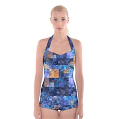 Blue Squares Abstract Background Of Blue And Purple Squares Boyleg Halter Swimsuit