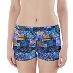 Blue Squares Abstract Background Of Blue And Purple Squares Boyleg Bikini Wrap Bottoms