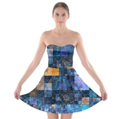 Blue Squares Abstract Background Of Blue And Purple Squares Strapless Bra Top Dress