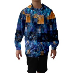 Blue Squares Abstract Background Of Blue And Purple Squares Hooded Wind Breaker (kids)