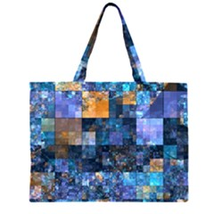 Blue Squares Abstract Background Of Blue And Purple Squares Zipper Large Tote Bag