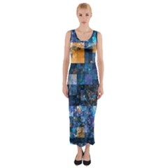 Blue Squares Abstract Background Of Blue And Purple Squares Fitted Maxi Dress