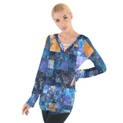 Blue Squares Abstract Background Of Blue And Purple Squares Women s Tie Up Tee