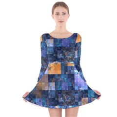 Blue Squares Abstract Background Of Blue And Purple Squares Long Sleeve Velvet Skater Dress