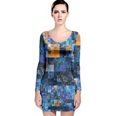 Blue Squares Abstract Background Of Blue And Purple Squares Long Sleeve Velvet Bodycon Dress