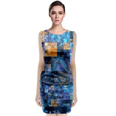 Blue Squares Abstract Background Of Blue And Purple Squares Classic Sleeveless Midi Dress