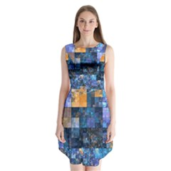 Blue Squares Abstract Background Of Blue And Purple Squares Sleeveless Chiffon Dress