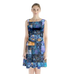 Blue Squares Abstract Background Of Blue And Purple Squares Sleeveless Chiffon Waist Tie Dress