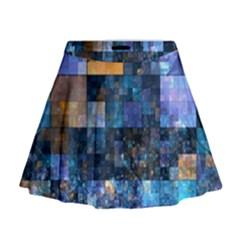 Blue Squares Abstract Background Of Blue And Purple Squares Mini Flare Skirt