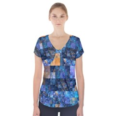 Blue Squares Abstract Background Of Blue And Purple Squares Short Sleeve Front Detail Top