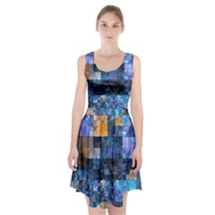 Blue Squares Abstract Background Of Blue And Purple Squares Racerback Midi Dress