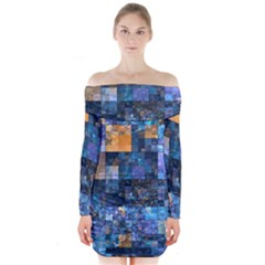 Blue Squares Abstract Background Of Blue And Purple Squares Long Sleeve Off Shoulder Dress