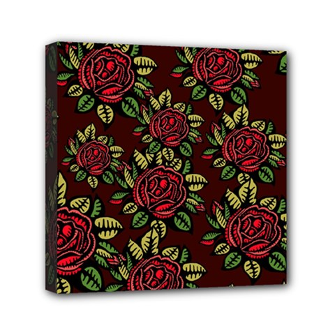 A Red Rose Tiling Pattern Mini Canvas 6  x 6