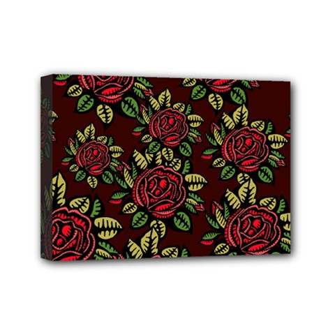 A Red Rose Tiling Pattern Mini Canvas 7  x 5