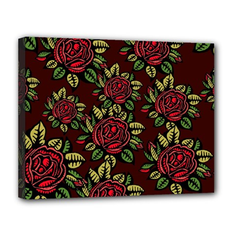 A Red Rose Tiling Pattern Canvas 14  x 11