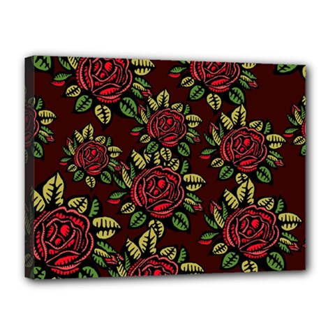 A Red Rose Tiling Pattern Canvas 16  x 12