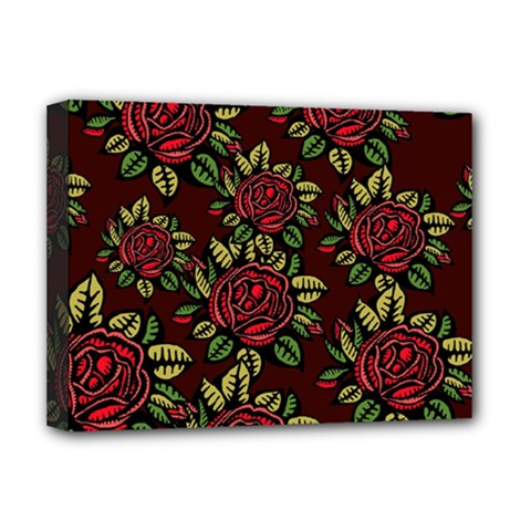 A Red Rose Tiling Pattern Deluxe Canvas 16  x 12