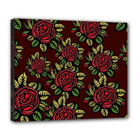 A Red Rose Tiling Pattern Deluxe Canvas 24  X 20