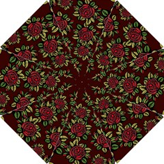 A Red Rose Tiling Pattern Hook Handle Umbrellas (Small)