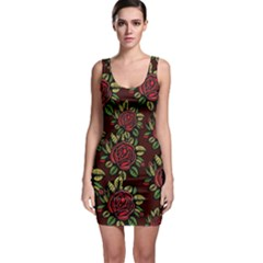 A Red Rose Tiling Pattern Sleeveless Bodycon Dress