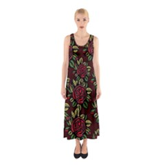 A Red Rose Tiling Pattern Sleeveless Maxi Dress