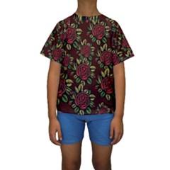 A Red Rose Tiling Pattern Kids  Short Sleeve Swimwear