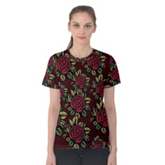 A Red Rose Tiling Pattern Women s Cotton Tee