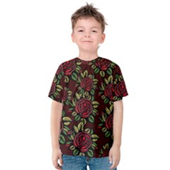A Red Rose Tiling Pattern Kids  Cotton Tee