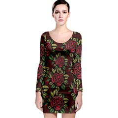A Red Rose Tiling Pattern Long Sleeve Bodycon Dress