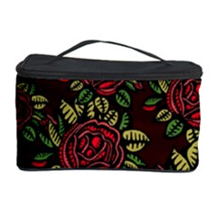 A Red Rose Tiling Pattern Cosmetic Storage Case