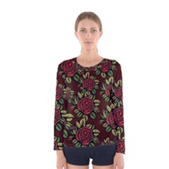 A Red Rose Tiling Pattern Women s Long Sleeve Tee
