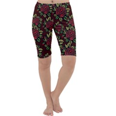 A Red Rose Tiling Pattern Cropped Leggings