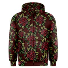 A Red Rose Tiling Pattern Men s Zipper Hoodie