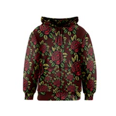 A Red Rose Tiling Pattern Kids  Zipper Hoodie