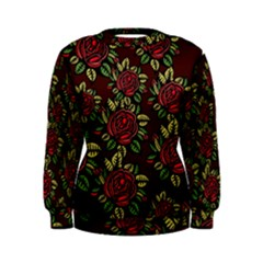 A Red Rose Tiling Pattern Women s Sweatshirt