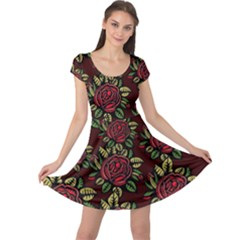 A Red Rose Tiling Pattern Cap Sleeve Dresses