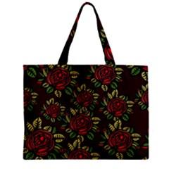 A Red Rose Tiling Pattern Zipper Mini Tote Bag