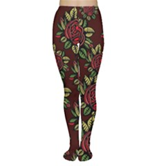 A Red Rose Tiling Pattern Women s Tights