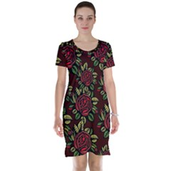 A Red Rose Tiling Pattern Short Sleeve Nightdress