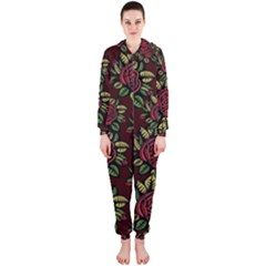 A Red Rose Tiling Pattern Hooded Jumpsuit (ladies)